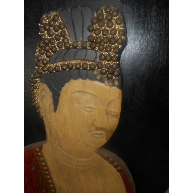 Image of Vintage Oriental 3D Handcarved Wood Wall Sculpture