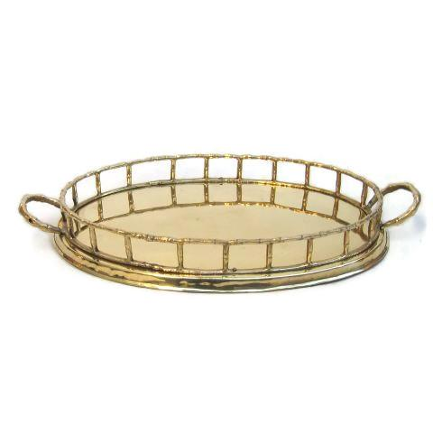 Brass Oval Faux Bamboo Tray - Image 2 of 2