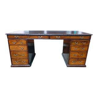 Fine Georgian Carved Mahogany Leather Top Writing Desk