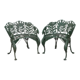 Laurel Pattern Antique Cast Iron Garden Benches - A Pair