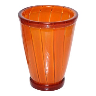 Vibrant Orange Vase by Seguso Viro