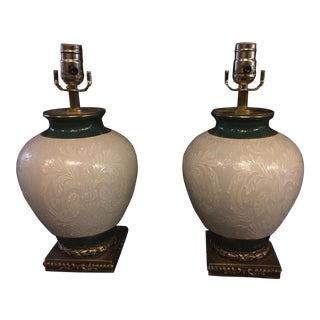 English Porcelain Vase Table Lamps - A Pair