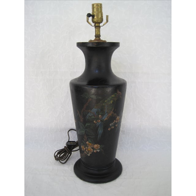 Art Deco Hand Painted Bird & Cherry Blossom Lamp - Image 2 of 8