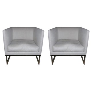 Milo Baughman for Thayer Coggin Floating Cube Club Chairs - a Pair