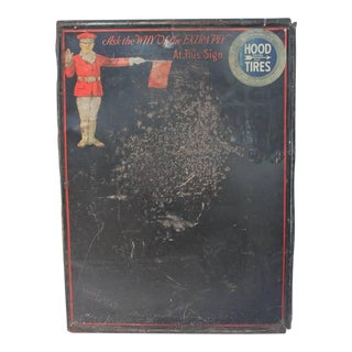 Antique Tin Message Board With Hood Tires Logo