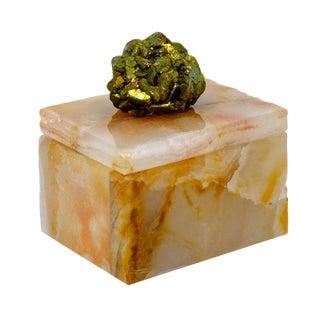 Small Onyx Pill Box W/ Titanium Pyrite