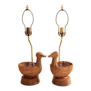 Mid Century Wicker Duck Table Lamps