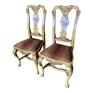 Antique Italian Paint Decorated Dining Chairs - a Pair