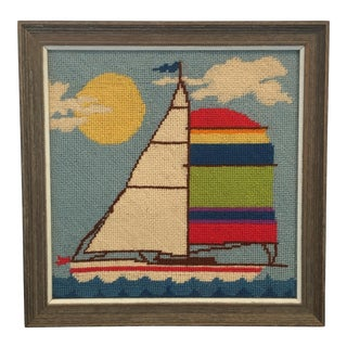 Framed Sailboat Needlepoint