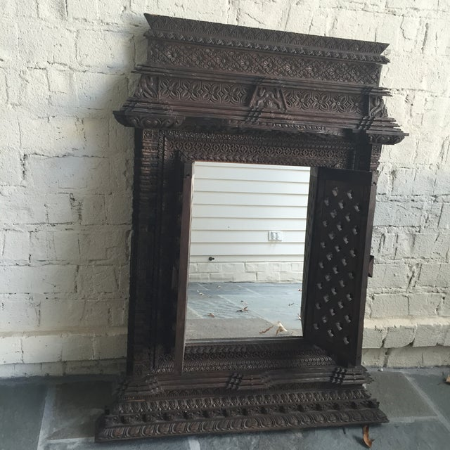 Hand Carved Nepalese Mirror - Image 2 of 8