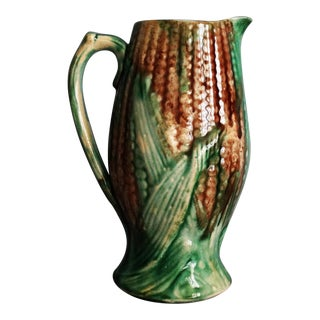 Antique Majolica Corn Pitcher