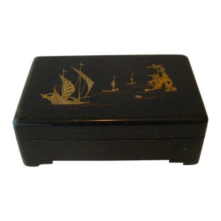 Chinoiserie Sailboat on Lake Black Lacquer Box