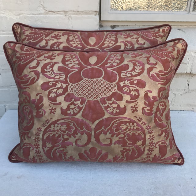 Burgundy & Gold Fortuny Pillows - A Pair - Image 2 of 5