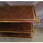 Image of Brass Etagere With Leather Shelves