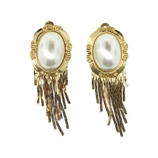 Gold Large Faux Pearl Clip Earrings