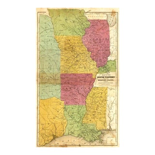 Antique Map Central States & Texas , 1844