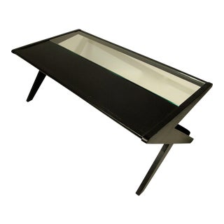 Mid-Century Glass and Black Wood Coffee Table