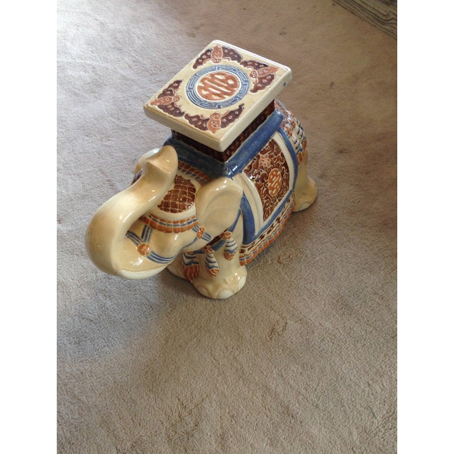 Image of Elephant Chinoiserie Garden Stool Hand Painted