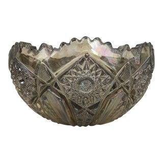 Smith Glass Quintec Pattern Smoke Carnival Glass Bowl