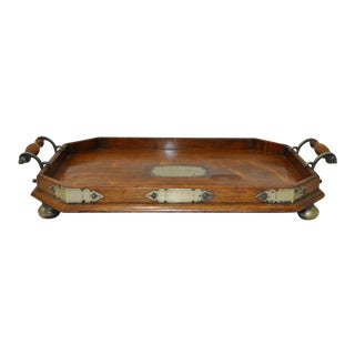 American Tiger Oak & EPNS Drinks Tray c.1904