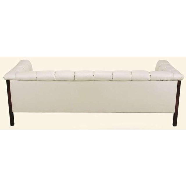 Image of Rare Bert England Button-Tufted White Ostrich Texture Sofa