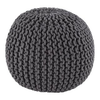Gray Hand Knitted Pouf