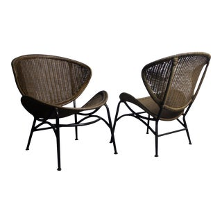 Clam Shell Wicker Chairs - A Pair