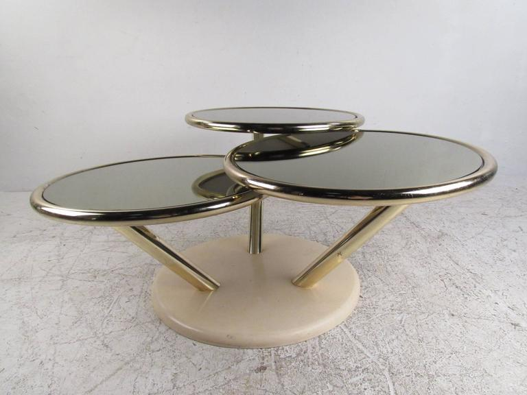 Unique Mid Century Brass And Glass Swivel Top Coffee Table   Image 5 Of 10