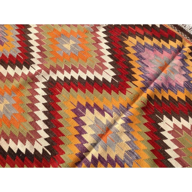 "Vintage Diamond Turkish Kilim Rug - 6' 10""x 11' 7"" - Image 6 of 6"