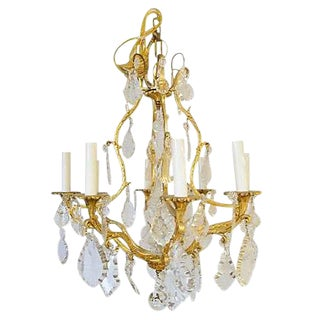 French Crystal Bird Cage-Style Chandelier