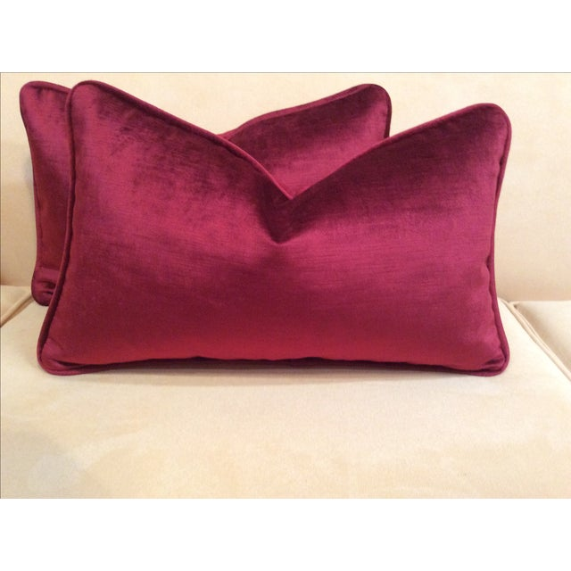 Burgundy Velvet Pillows - A Pair - Image 5 of 9