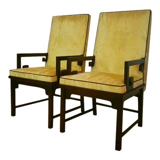 Mid-Century Arm Chairs Michael Taylor for Baker with Original Upholstery - A Pair