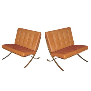 Mies Van Der Rohe for Knoll Vintage Brass Barcelona Chairs - A Pair