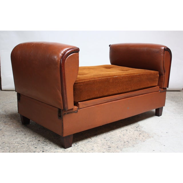 French Deco Leather and Mohair Daybed - Image 2 of 11