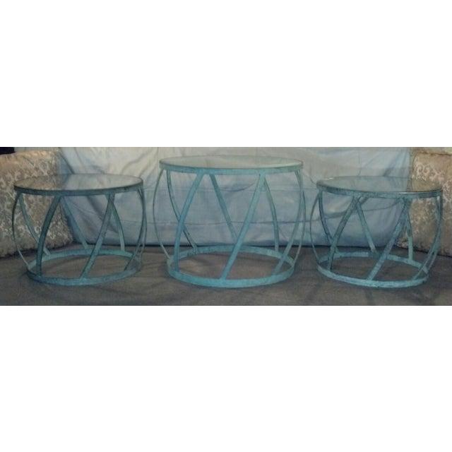 Karl Springer Barrel Recessed Finish Metal Tables - Image 2 of 4