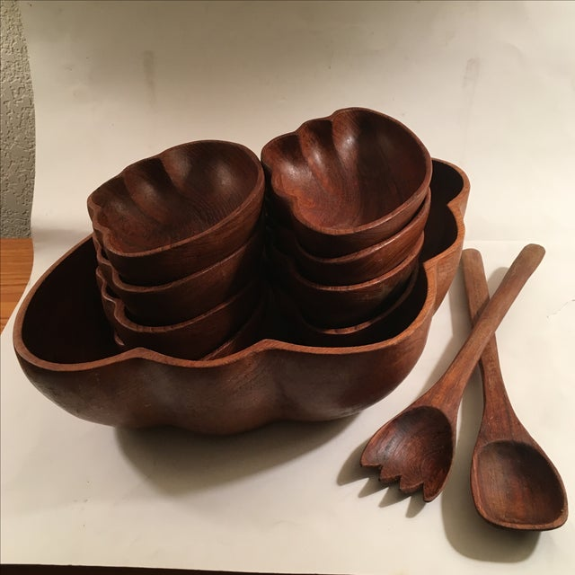 Image of Vintage Teak Wood Salad Serving Set
