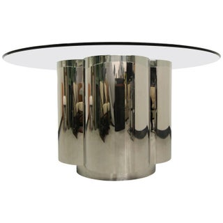Clover Shape Chrome Pedestal Dining Table