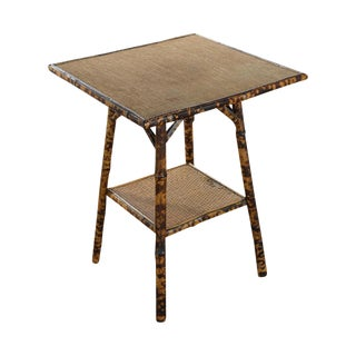 English Victorian 19th C. Bamboo Square Side Table