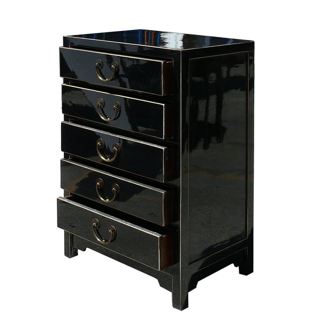 Image of Chinese Black Lacquer 5 Drawer Chest Cabinet