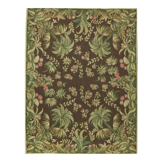 French Aubusson Design Hand Woven Black & Green Wool Rug - 8' X 10'