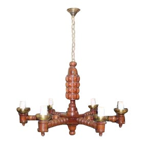 French Art Deco Solid Mahogany Chandelier By Gaston Poisson Circa 1940s