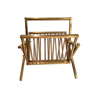 1950s Brass Collapsible Magazine Rack