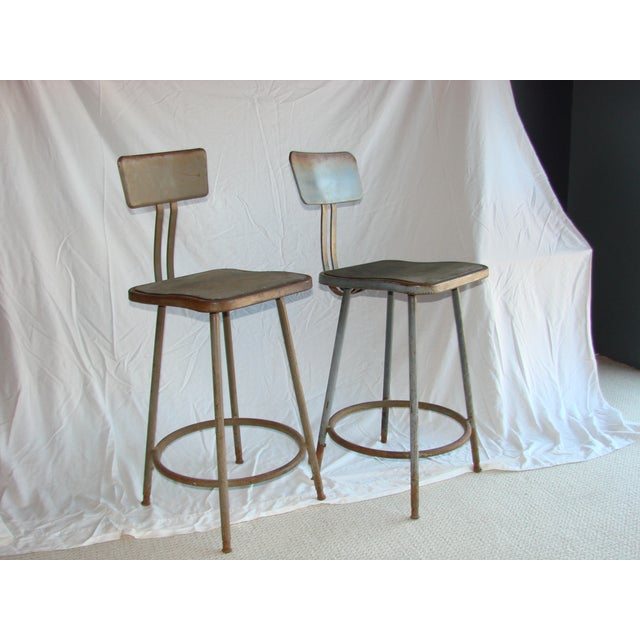 Vintage Industrial Shop Stools - A Pair - Image 3 of 4