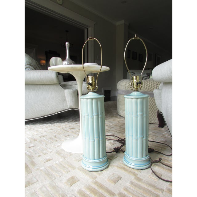Image of Vintage Celadon Table Lamps - A Pair