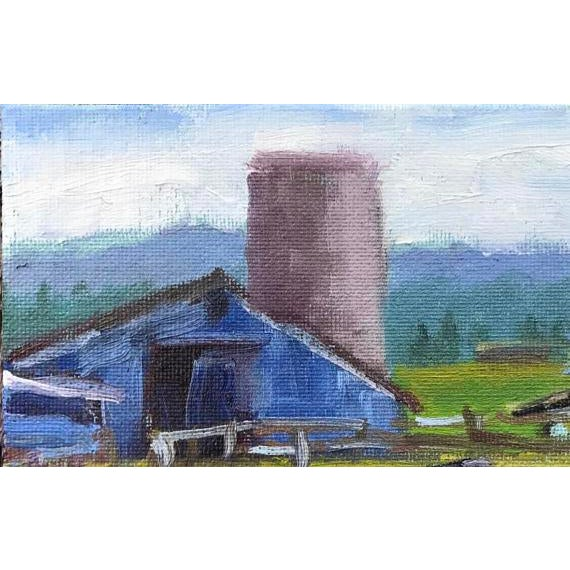 """Petaluma Blue Barn & Cow"" Painting - Image 5 of 11"