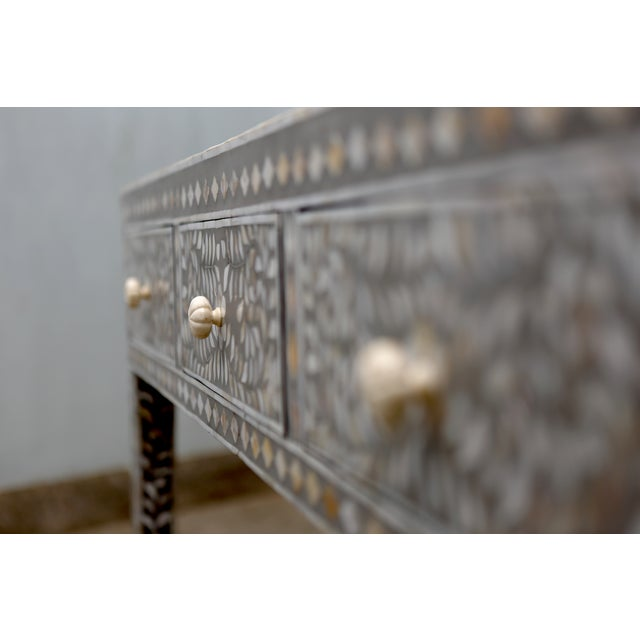 Gray Mother of Pearl Inlay Console - Image 3 of 5