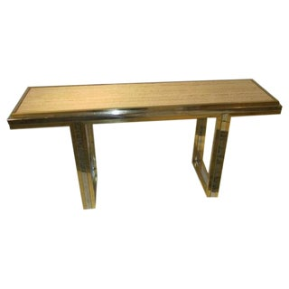 Mid Century Travertine and Brass Console Table, France, circa 1960