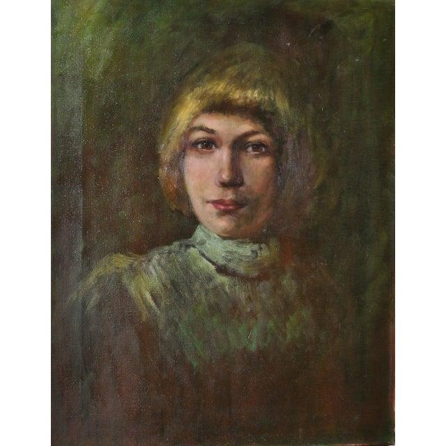 Image of Mid-Century Oil Portrait Painting