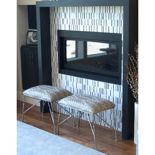 Image of Nickel Bamboo Stool With Custom Upholstery