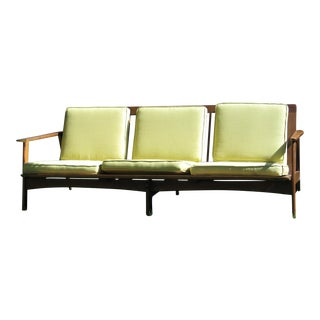 Mid-Century Walnut Frame Sofa